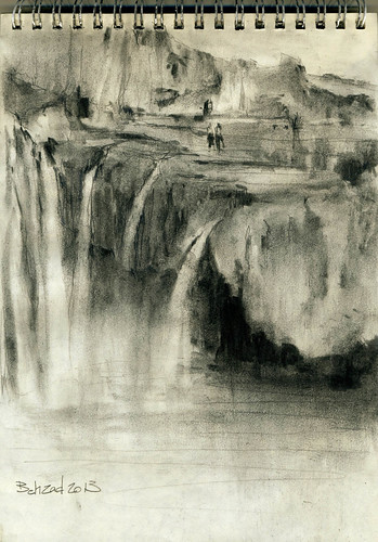 Semirom Waterfall (1) by Behzad Bagheri Sketches