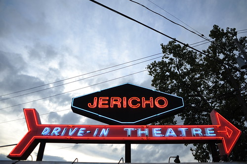 Jericho Drive-In sign at dusk