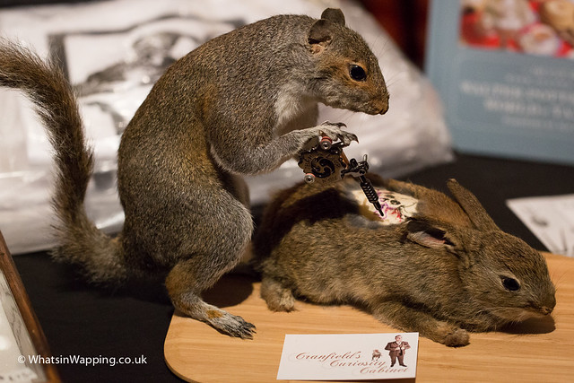 Squirrel giving a rabbit a tattoo