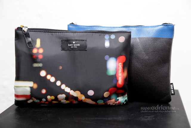 Qantas Airways Business Class Amenity Kits for Women (front) and Men (back)