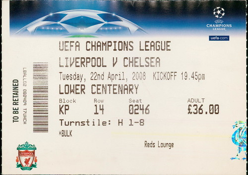 Liverpool v Chelsea, Champions League Semi Final, Anfield 22 April 2008