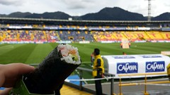 What do people eat when at the soccer stadium in Bogota? Sushi, of course. w/ @omarduque