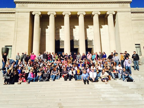 #edcampKC group photo on the front steps of the Nelson Atkins!