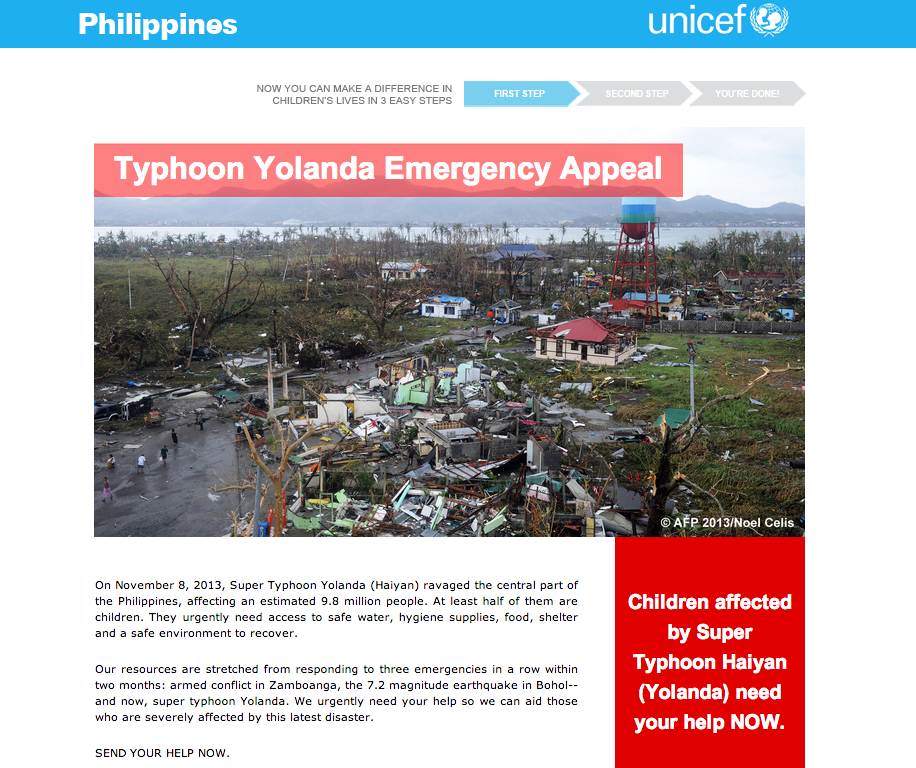 UNICEF Philippines donation