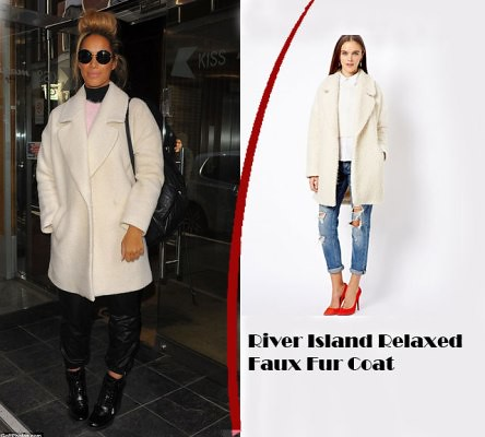 Leona Lewis in River Island Relaxed Faux Fur Coat