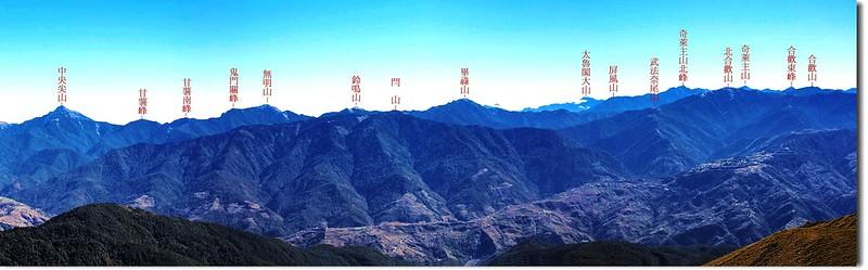 北二段群峰(From 油婆蘭山遠眺東南) 2