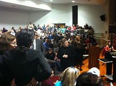 Highland Park school board meeting crowd