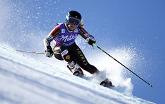 Prefontaine kicks up some spray during the first giant slalom race of the season in Solden, AUT.