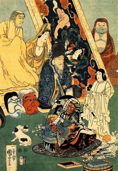 歌川国芳、『名誉右に敵なし左甚五郎』(中央図)