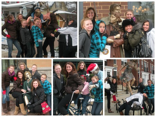 How to Survive a Holiday Staycation: pose with your Posse! Photos taken in Carmel, IN: with the Man-on-the-Street series by J. Seward Johnson Jr.