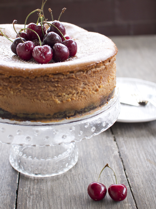 chocolate bourbon cherry cheesecake