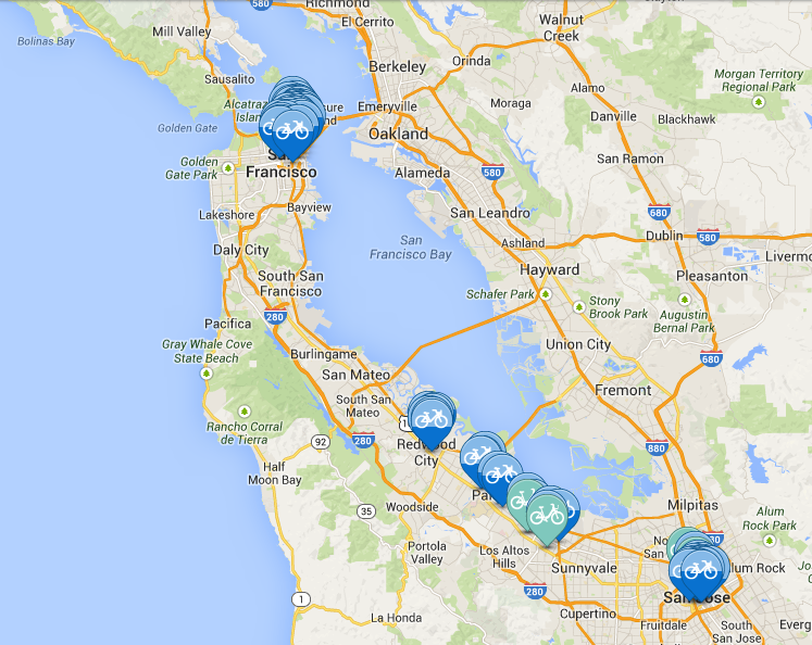 Bay Area Bike Share Locations Peninsula