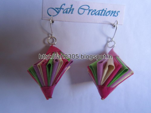 Handmade Jewelry - Origami Paper Twisted Diamond (Unit) Earrings (10) by fah2305