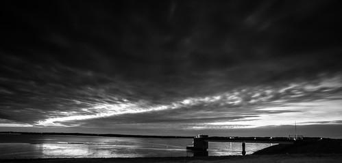 blackandwhite bw lake monochrome sunrise canon landscape dawn blackwhite horizon kansascity 5d smithville 1740mm markii smithvillelake
