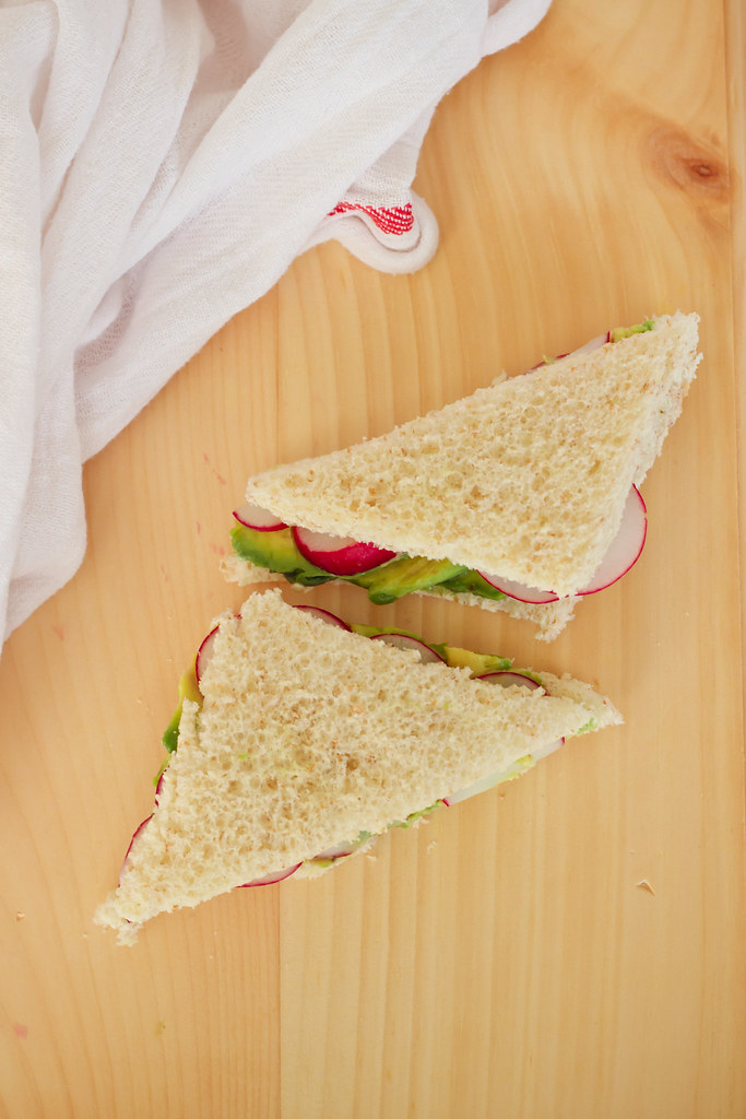 radish-avocado tea sandwich with herbed goat cheese