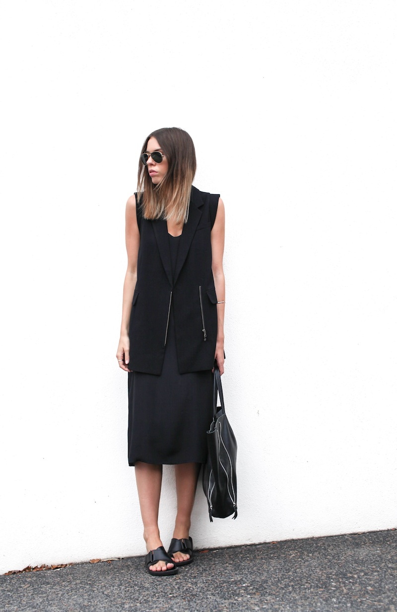 modern legacy australian fashion blog personal style street all black Priory of Ten Vest Topshop silk cami midi dress slide sandals zip leather tote bag (1 of 13)