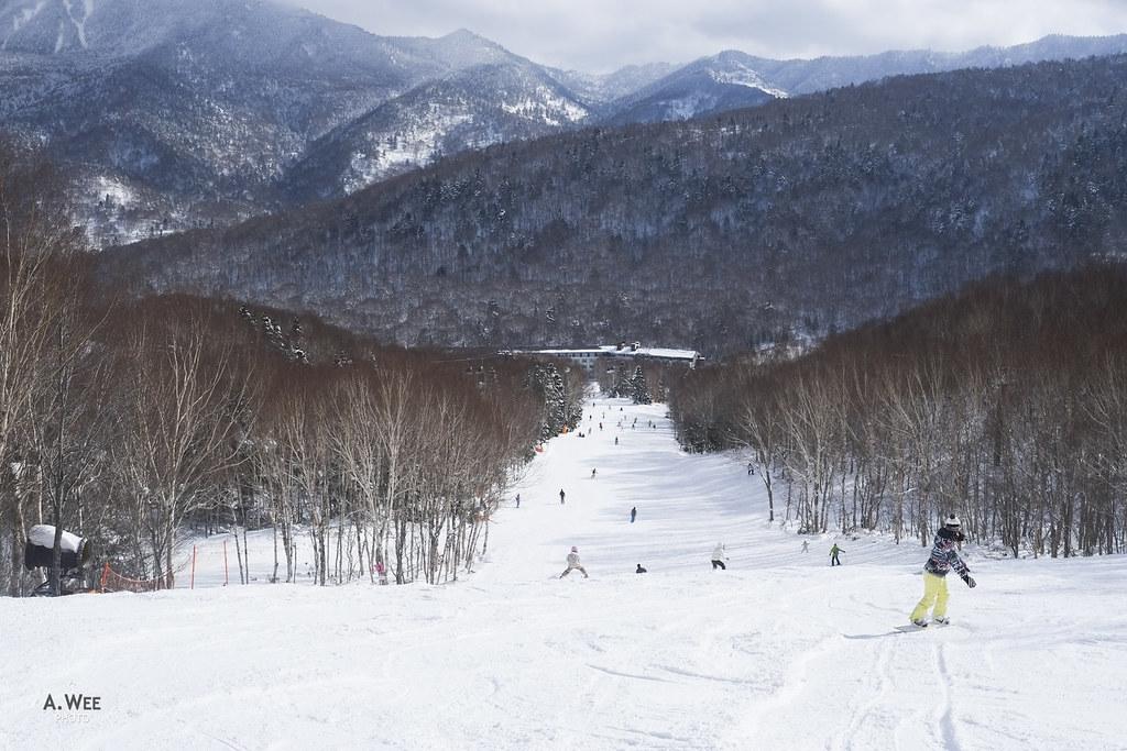 Snowboarding in Yakebitaiyama