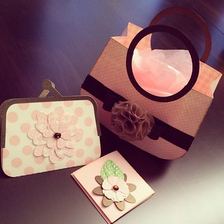 Purse (gift bag), coin purse (gift card holder) and post-it note holder cut with my Silhouette Cameo