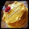 A golden cake for a golden anniversary.