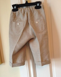 Sandbox pants with creases ironed in and cuffs. https://stitchedbythesea.wordpress.com/2014/04/18/here-comes-peter-cottontail/