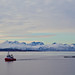 Norway fish farm towed by a tug, Hurtigruten ferry behind by Hud