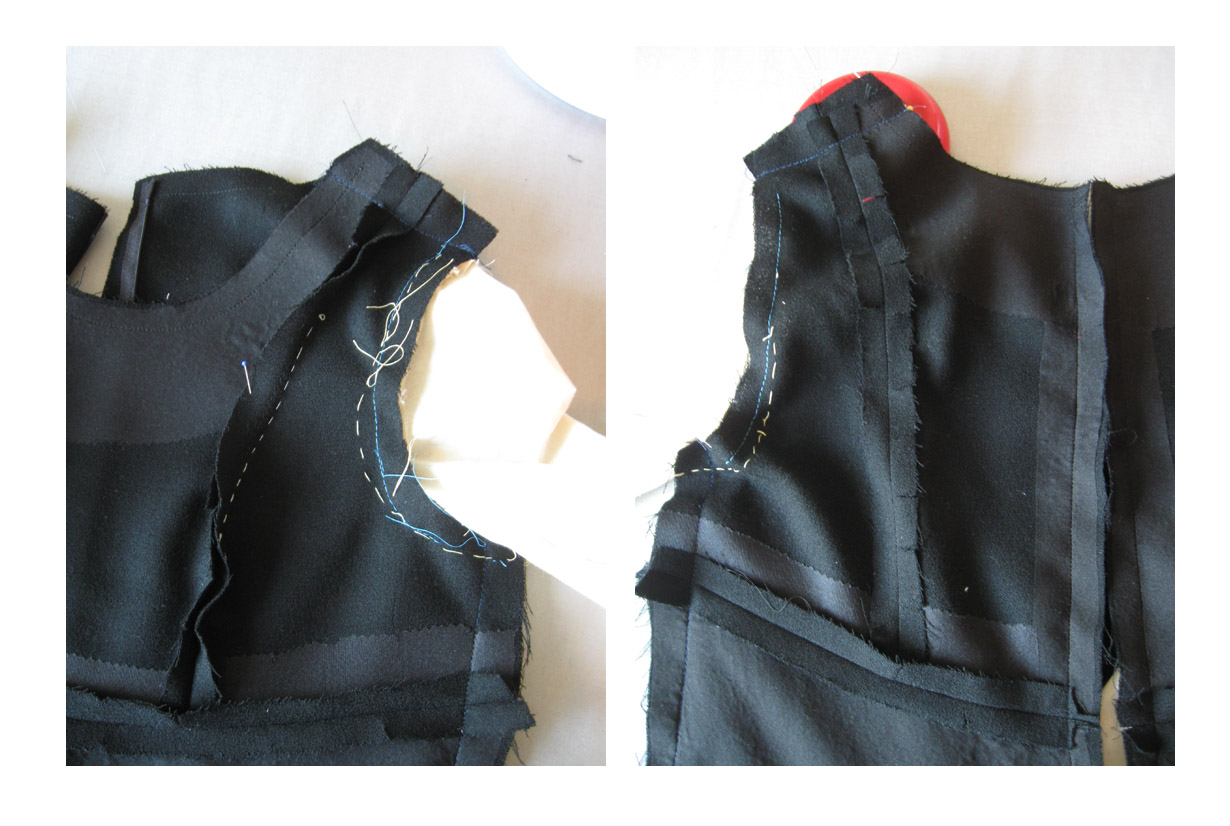 Front and back bodice inside V8972