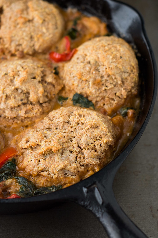 Sausage and Cannellini Bean Cobbler