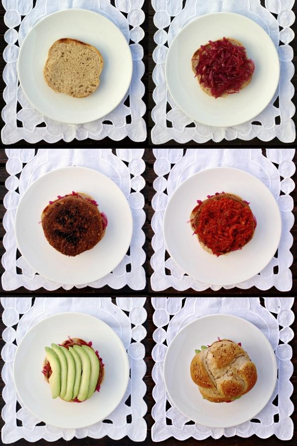 lentejas rojas, lombarda y sobrasada {hamburguesas de colores}