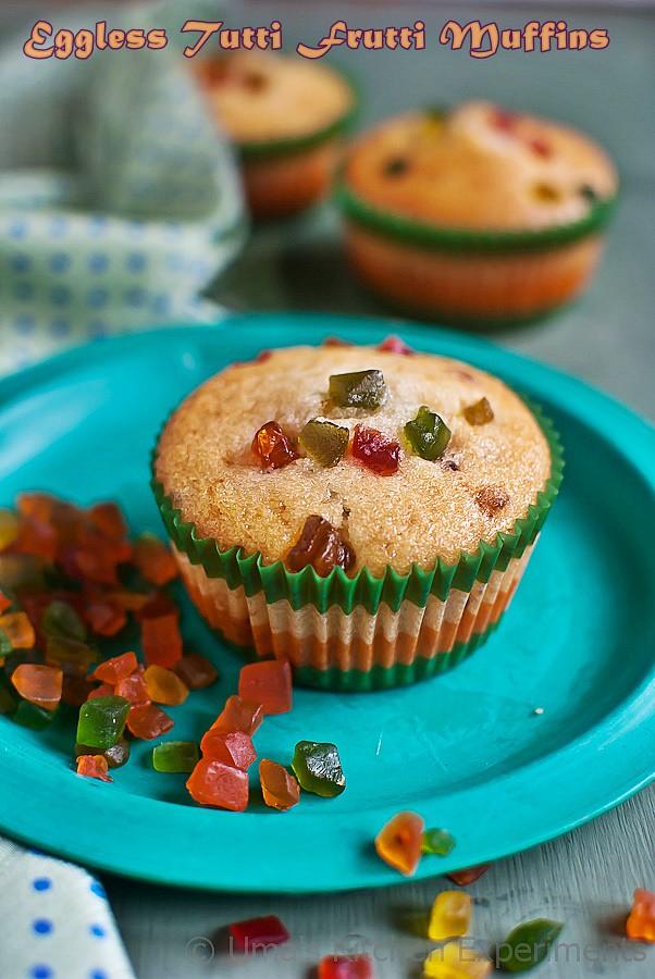 Eggless Tutti Frutti Muffins