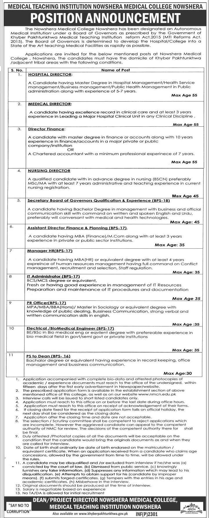 Medical Teaching Institution Nowshera Jobs 2016