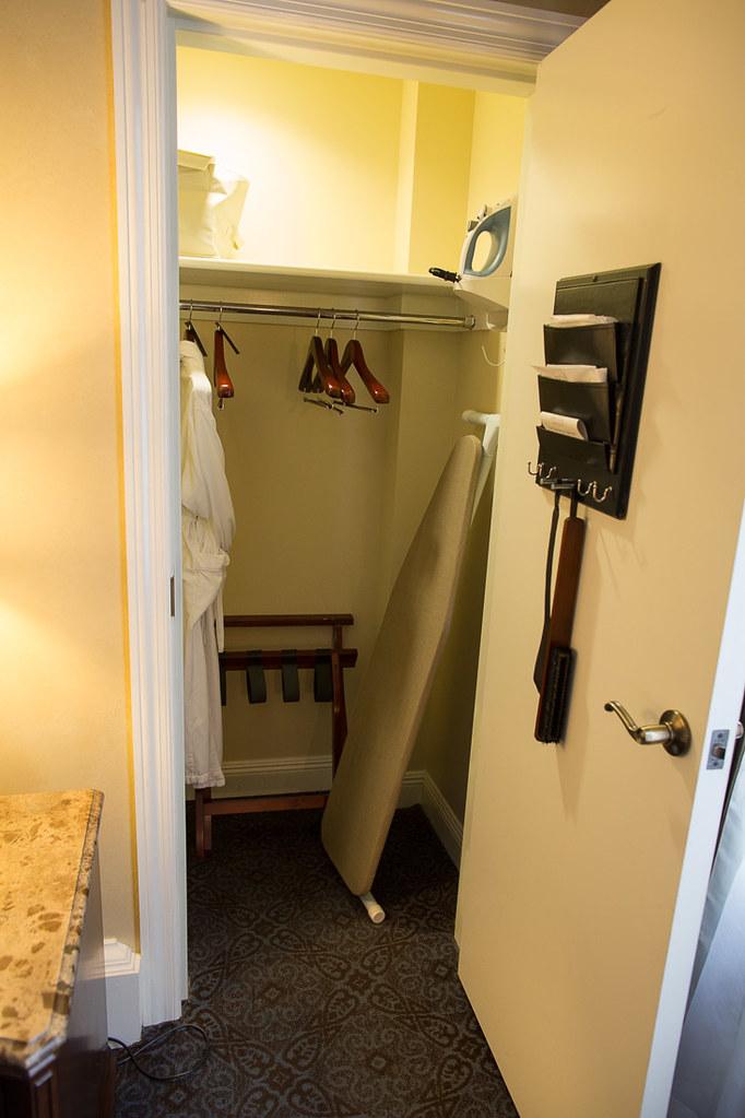 Closet in hotel room
