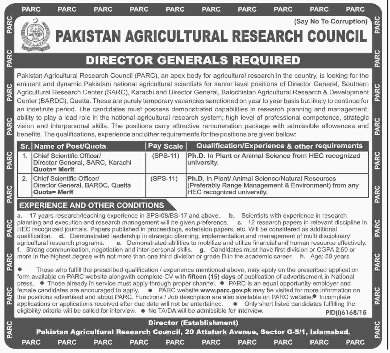 Pakistan Agricultural Research Council  DG Jobs