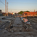 exposed streetcar rails and pavers, 800 West Root Street by GXM.