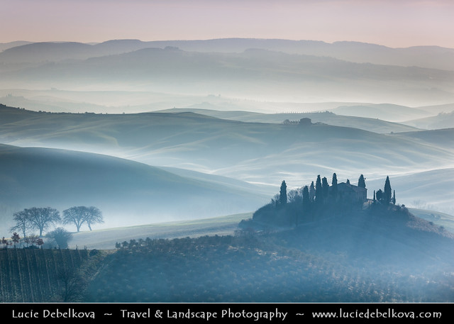 Italy - Tuscany - Val d'Orcia - Podere Belverde in the morning mist