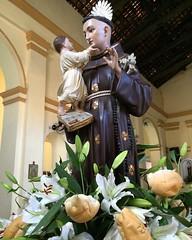 Um outro ângulo da imagem do santo padroeiro do Cabo de Santo Agostinho - o Franciscano Santo Antônio