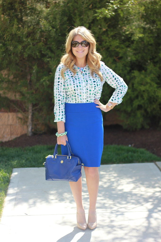 cobalt pencil skirt ladybug blouse work outfit