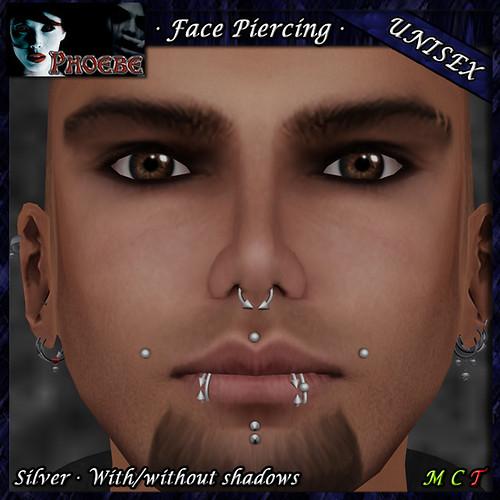 *P* Unisex Face Piercing P6 ~Silver~