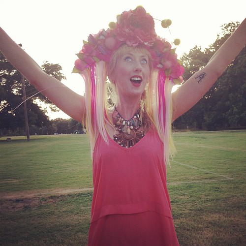 Allyson in her solstice headdressed glory, welcoming in the summer...