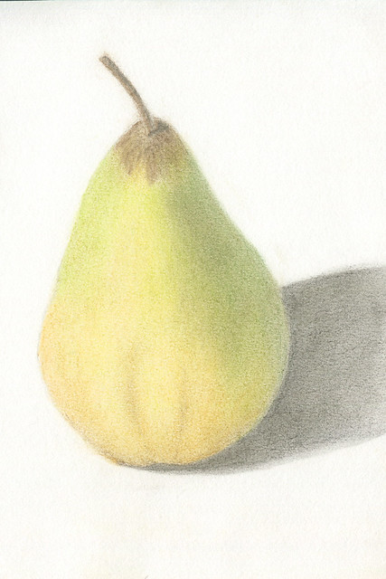 pear, pastel pencils
