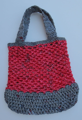 Pink and Grey Plastic Bag Tote