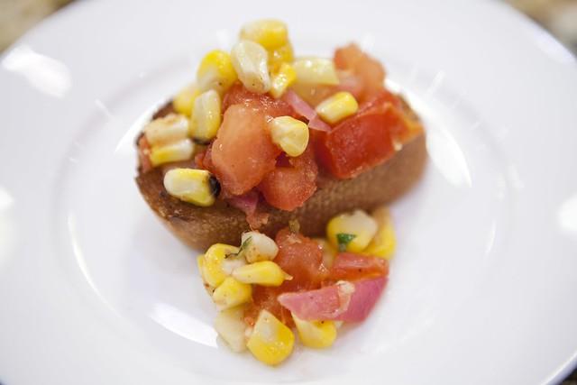 Grilled Corn and Tomato Bruschetta