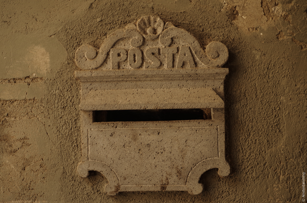 Italy, Mail Box Made of Stone in Orvieto