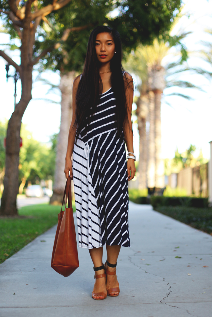 Stephanie Liu of Honey & Silk wearing Three Dots dress, Zara heels and Madewell tote.