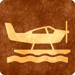 Sepia Grunge Sign - Sea Plane