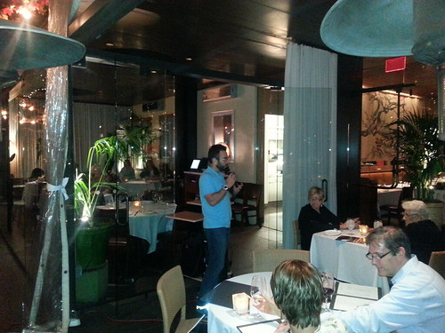 LA Phil Bassist David Allen Moore Speaking to Get Your Phil patrons at Chaya Downtown LA