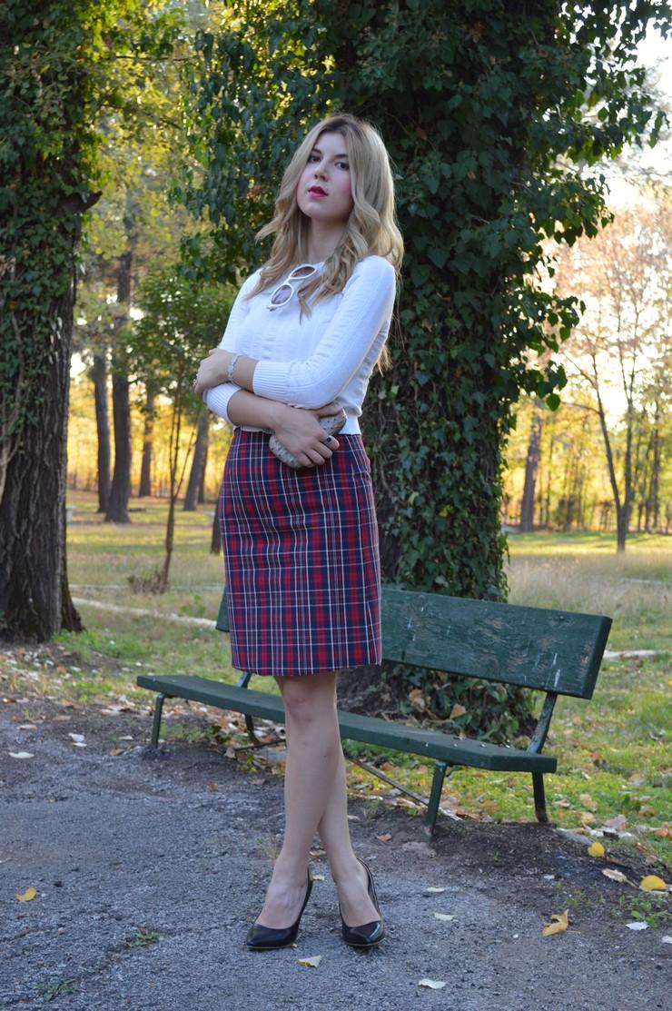 check skirt white top 3