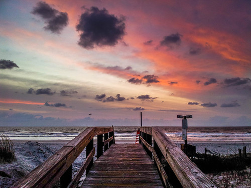 ocean sea beach sunrise florida boardwalk jacksonville fl