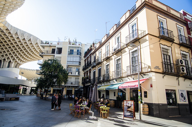 A cafe near Las Setas, or the Metropol Parasol, in the heart of Sevilla, Spain.