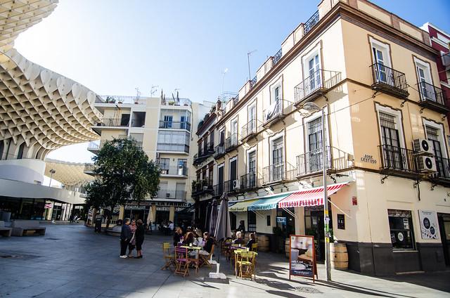 A cafe near Las Setas, or the Metropol Parasol, in the heart of Sevilla, Spain.