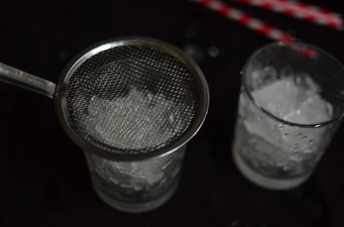 Ice, sieve...waiting for sugarcane juice